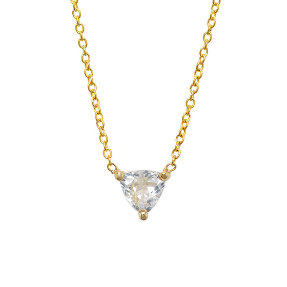 14 Karat Yellow Gold White Topaz Triangle Necklace