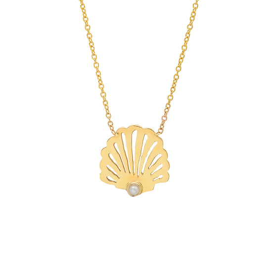 14K Gold Seashell Necklace with pearl beach