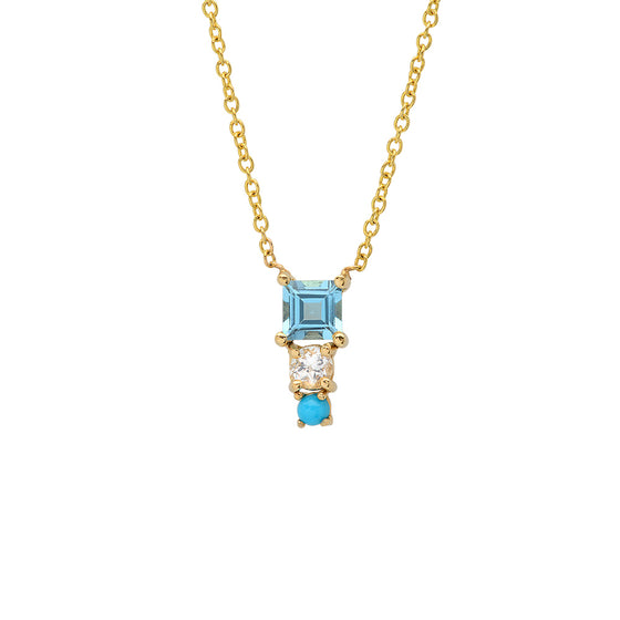 14 Karat Yellow Gold Square Art Deco Drop Necklace