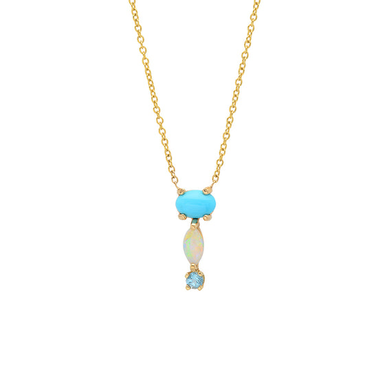 14 Karat Yellow Gold Turquoise Opal Blue Stone Drop Necklace