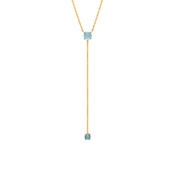 14 Karat Yellow Gold Blue Topaz Lariat Necklace