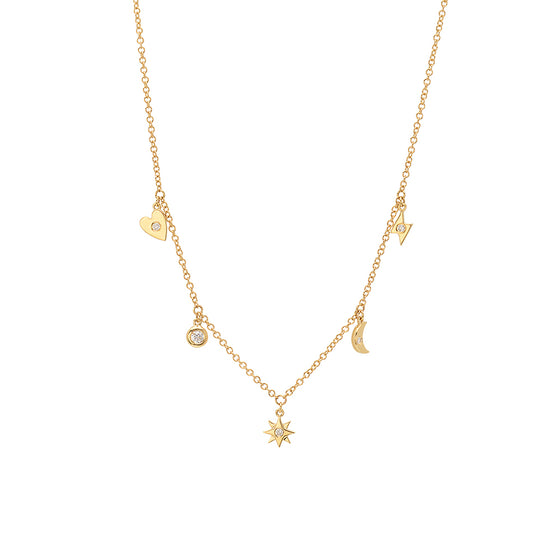 Diamond Multi Charm Necklace - Online Exclusive