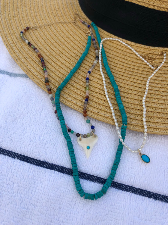 Surfer heishi bead strand - turquoise