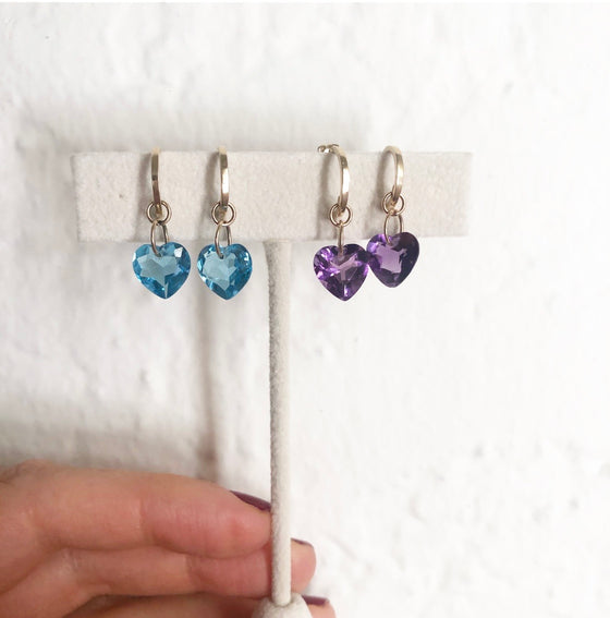 Fancy candy - 14k gem heart earrings