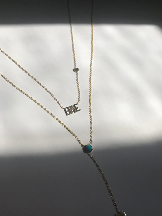 "Custom Script Side Heart Necklace ""Bae"""