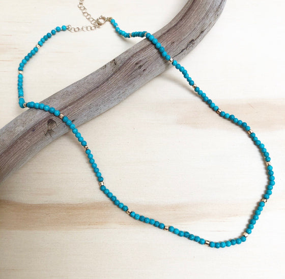 Golden Gem strand - turquoise - spaced