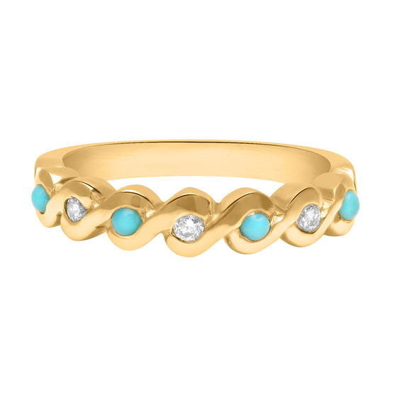Turquoise and diamond wave ring