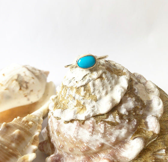 Oval sideways turquoise ring