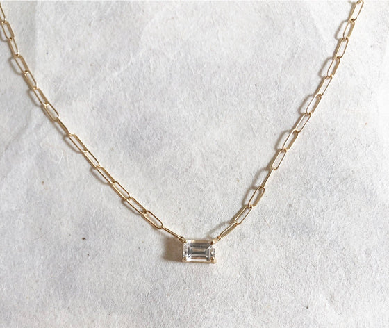 Baguette gem link chain necklace