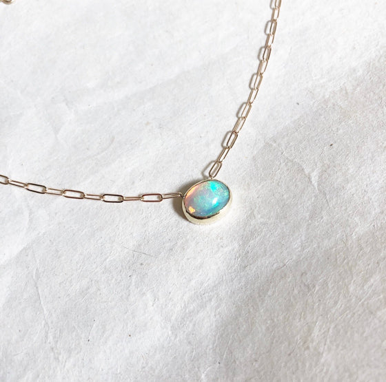 14k Ethiopian opal on link chain