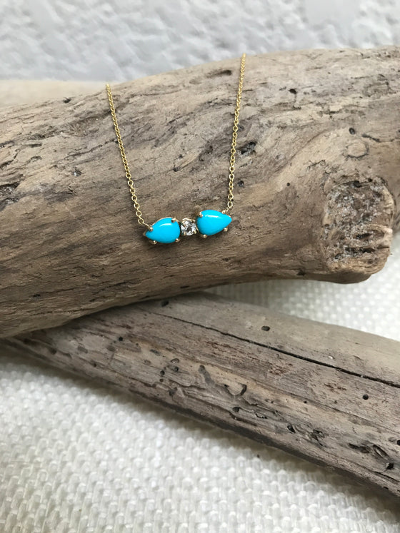Turquoise and White topaz bar