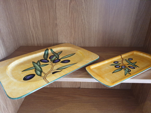 2 x Painted Olive Branch Ceramic Serving Platters (ref: 6480)