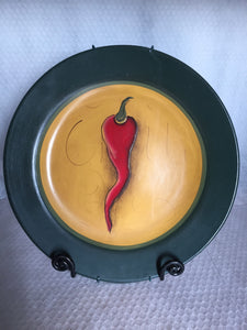 Large Handpainted Pepper Plate