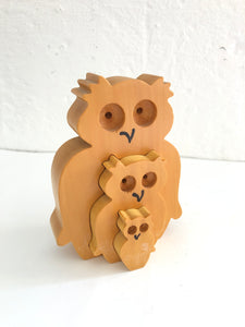 4 Piece Wooden Owl Ornament (8179)