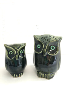 2 x Green Cermaic Owls (8184)