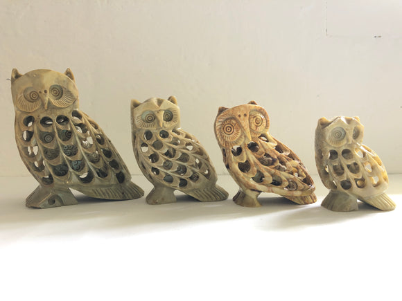 4 x Hand Carved Soapstone Mother/Baby Owls (8207)
