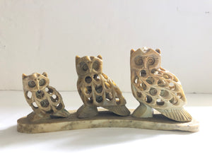 Set of 3 Hand Carved Soapstone Owls (8208)
