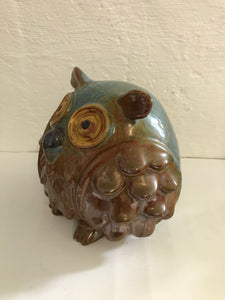 Large Ceramic Owl - Greens and Browns (8220)