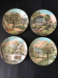 4 x Vintage Four Seasons Decorative Plates - 1986 (8255)