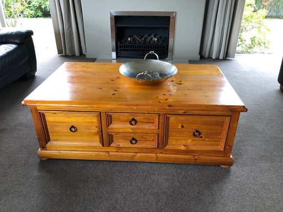 Large Pine Coffee Table With Drawers (8237)