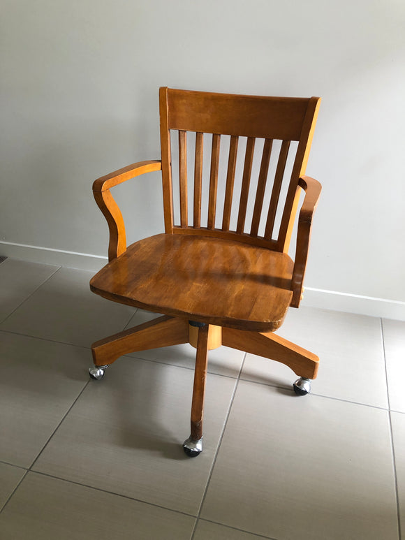MId-Century Wooden Office Chair (8277)