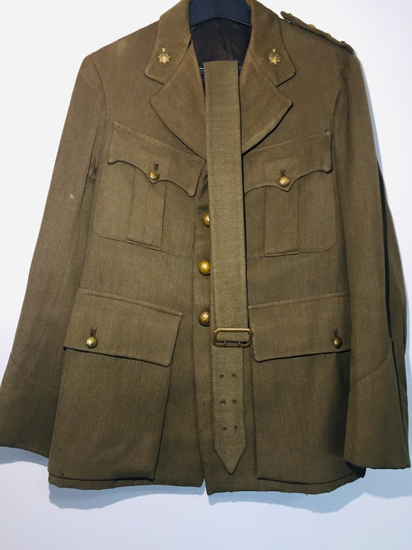 WWII NZ Army Captain's Dress Uniform: Jacket, Pants, Leather & Fabric Belts (ref: 6651)