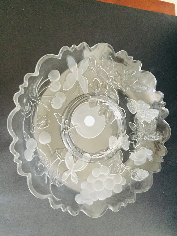 Vintage Glass Butterfly & Fruit Platter (ref: 6756)