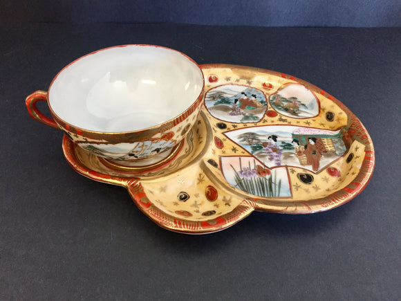Antique Japanese Hand Painted Cup and Saucer-Plate #2 (ref: 7053)