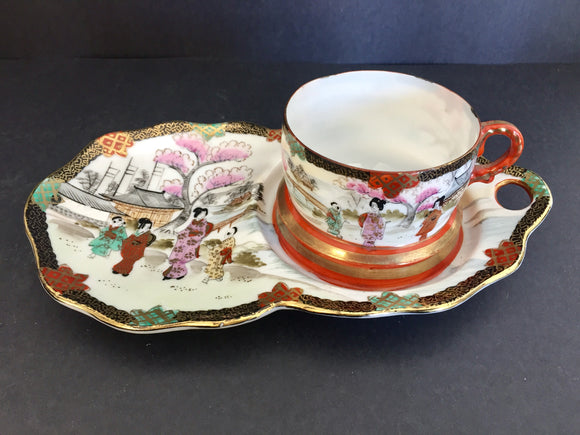 Antique Japanese Hand Painted Cup and Saucer-Plate #1 (ref: 7052)