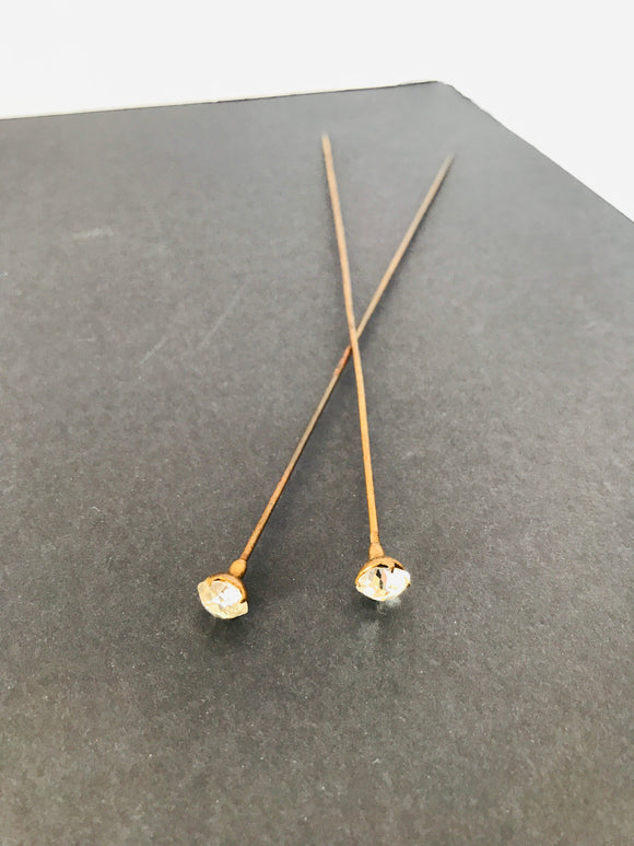 2 x Long Antique Diamante Hat Pins (8510)