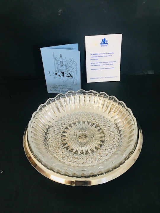 Grand Victorian Silver Plate & Crystal Dish (ref: 5334)