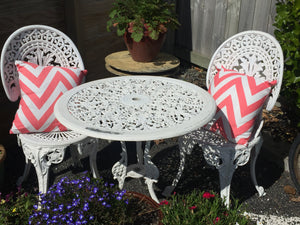 Wrought Iron Table & Chairs x 2 - (ref: 7197)