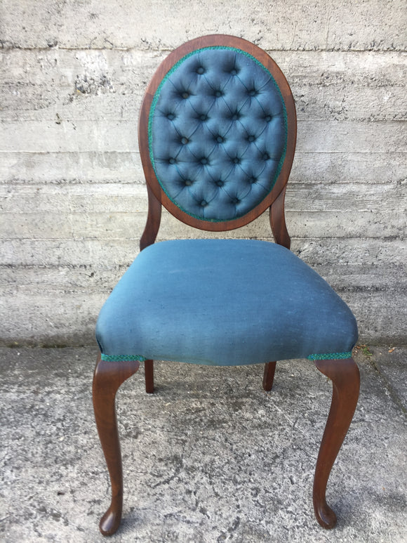 Mahogany Occasional Bedroom Chair - Blue (ref: 7338)