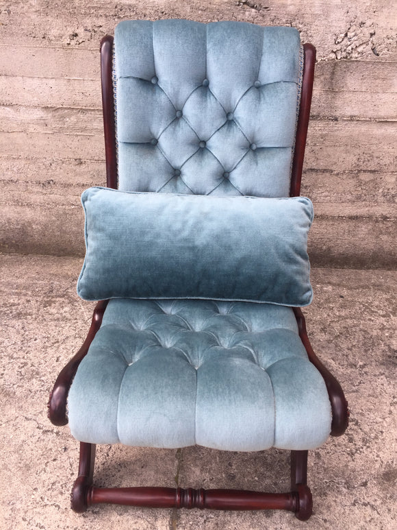 Blue Buttoned Velvet Bedroom Chair with Cushion (ref: 7343)