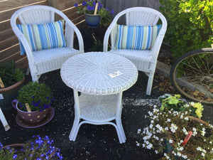 White Cane Table & 2 x Chairs (7414)
