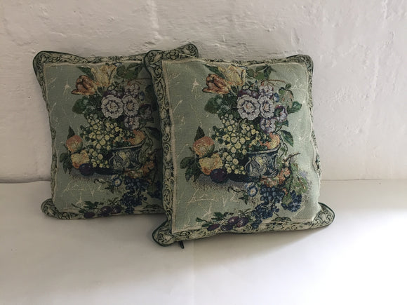 2 x Forest Green Tapestry Cushions (7441)