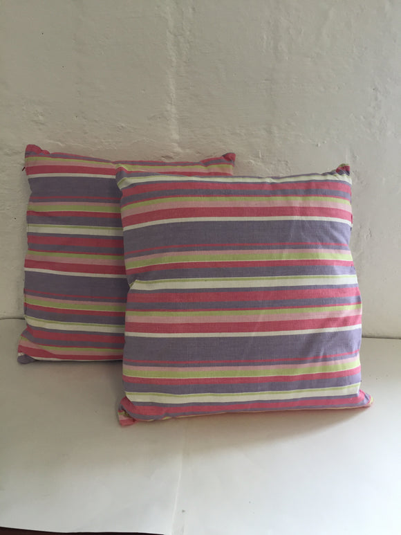 2 x Purple and Pink Striped Cushions (7442)