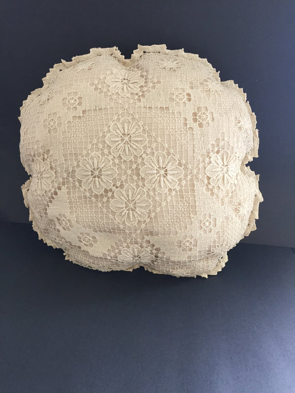 3 x Large Cream doily Cushions (7443)