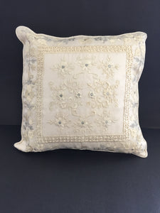 Cream & Silver Tissue embroidered  Cushion (7440)
