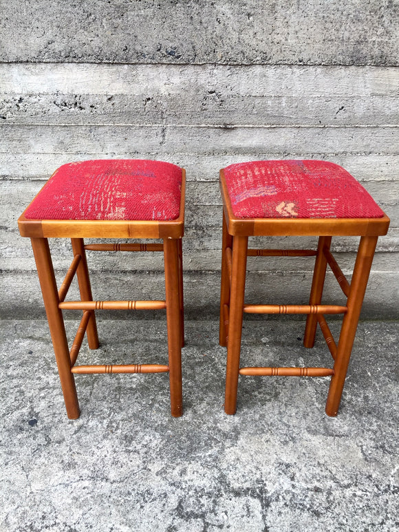 2 x Retro Cushioned Stools (7611)