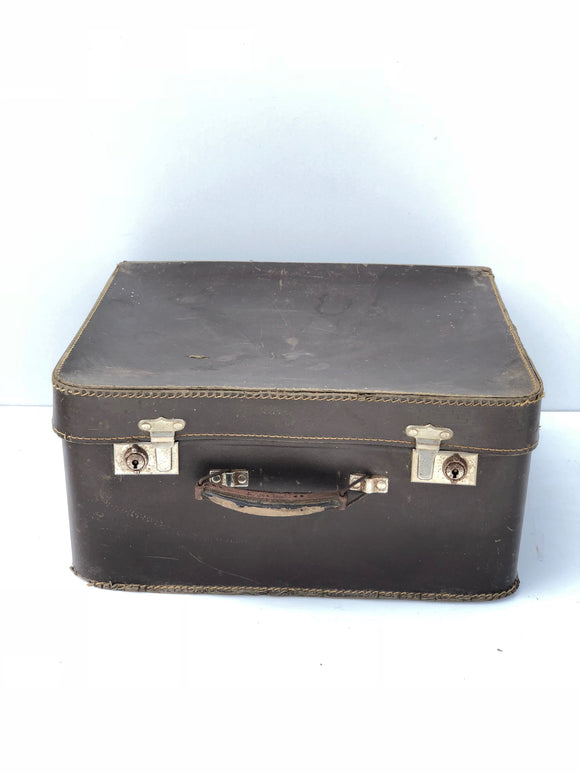 Vintage Square Leather Suitcase