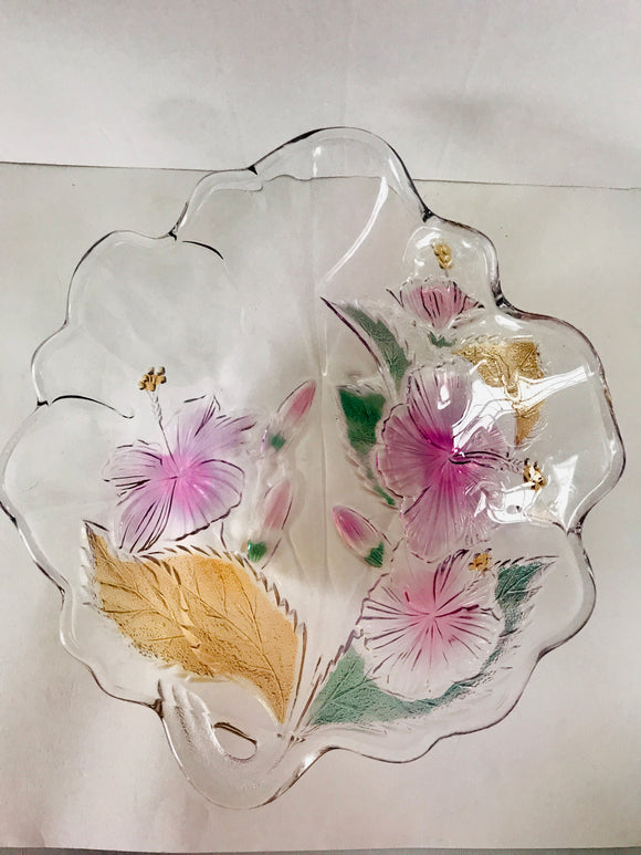 Lovely Coloured Hibiscus Glass Serving Bowl (8483)