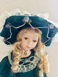 Victorian Porcelain Doll Forest Green Dress (7682)