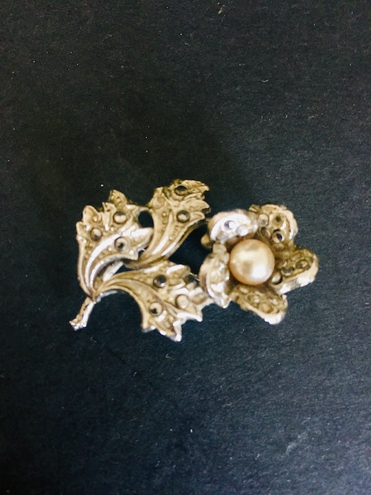 Art Deco Silver, Pearl and Marcasite Brooch (ref: 5563)