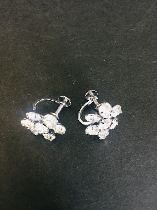 Art Deco Diamante Flower Screw Back Earrings (ref: 5565)