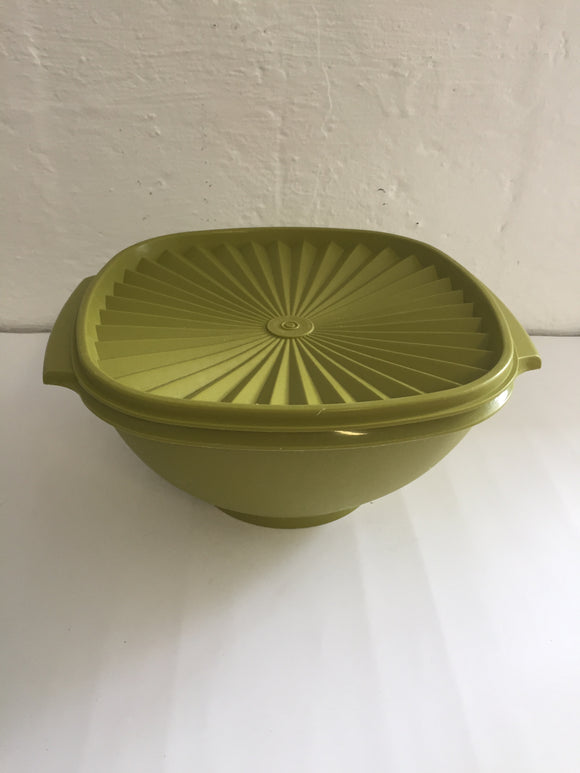 Retro Tupperware Green Mixing Bowl with Lid (8519)