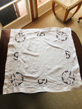 Antique White Linen Madeira Tablecloth (8541)
