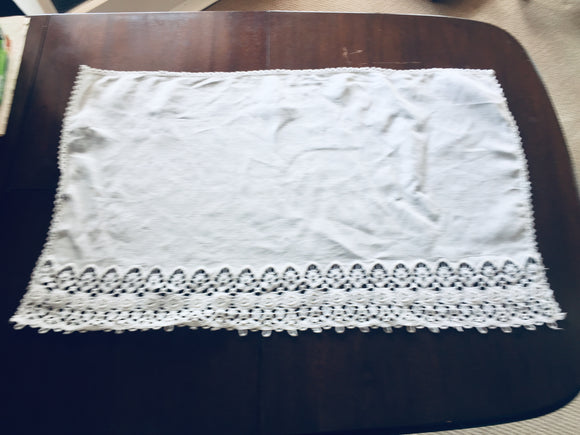 Antique White Linen Madeira Side-Table Cloth (8542)