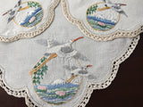 3 Piece Embroidered Herons Doily Set (8547)