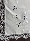 Cream Linen Embroidered Doily (8549)